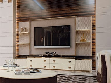 Leather TV cabinet with drawers VOGUE | TV cabinet
