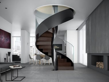 Helical painted metal Spiral staircase VORTIKA
