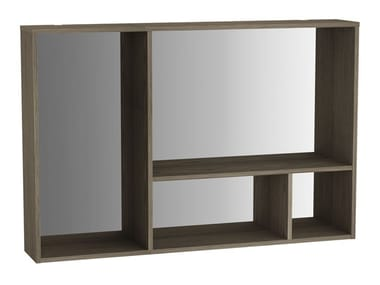 Suspended wood and glass bathroom wall cabinet with mirror VOYAGE | Wood and glass bathroom wall cabinet