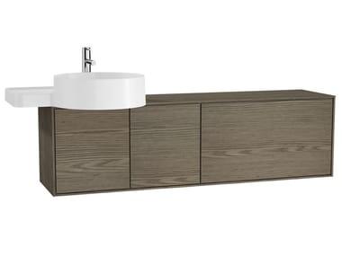 Wall-mounted wooden vanity unit VOYAGE FOR COUNTERTOP WASHBASIN | Single vanity unit