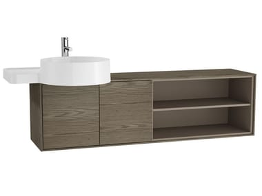 Single wall-mounted wooden vanity unit VOYAGE FOR COUNTERTOP WASHBASIN | Wall-mounted vanity unit