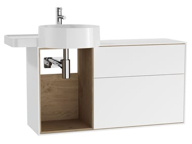 Wall-mounted wooden vanity unit with drawers VOYAGE FOR COUNTERTOP WASHBASIN | Vanity unit with drawers