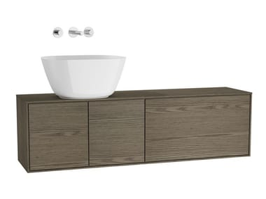 Wall-mounted wooden vanity unit with doors VOYAGE FOR BOWLS | Vanity unit