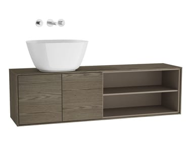 Single wall-mounted wooden vanity unit VOYAGE FOR BOWLS | Wooden vanity unit