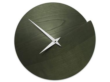 Wall-mounted wooden clock VULCANO NUDE DARK GREEN ASH