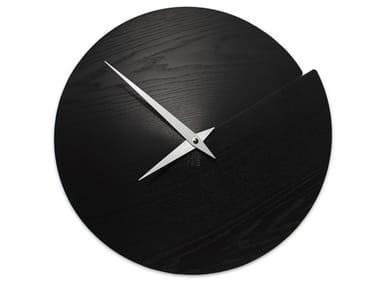 Wall-mounted wooden clock VULCANO NUDE BLACK ASH