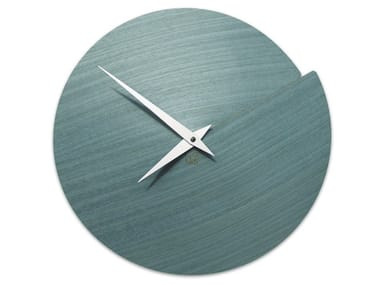 Wall-mounted wooden clock VULCANO NUDE LIGHT BLUE TAY