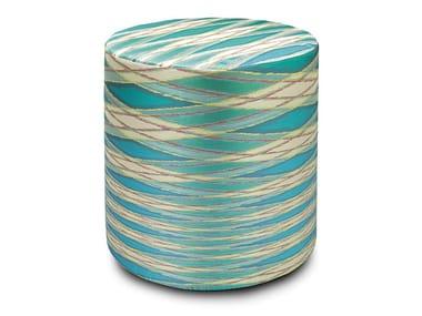 Pouf cilindro in tessuto jacquard VULCANO | Pouf rotondo