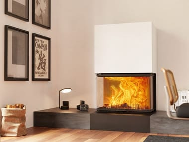 Wood-burning Fireplace insert with Panoramic Glass VUUR DRIE 60