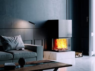 Wood-burning Fireplace insert with Panoramic Glass VUUR DRIE 80