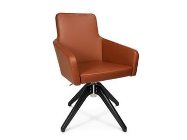 Swivel trestle-based easy chair W-CUBE 1 C | Trestle-based easy chair