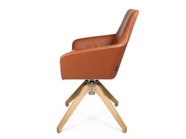 Swivel trestle-based easy chair W-CUBE 1 CFL | Trestle-based easy chair