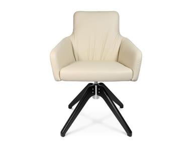 Swivel trestle-based easy chair W-CUBE 1 CL | Trestle-based easy chair