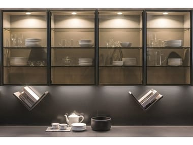 Open wall cabinet with glass door TECA   Wall cabinet