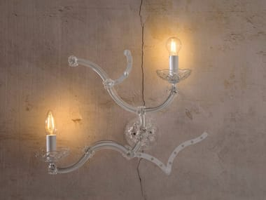 Glass and iron wall light GHEBO | Wall light
