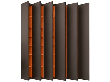 Wall-mounted lacquered wooden bookcase ALEPH   Lacquered bookcase