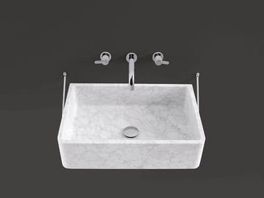 Rectangular wall-mounted Carrara marble washbasin CARRARA   Wall-mounted washbasin