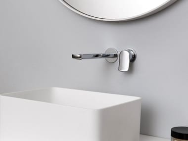 Wall-mounted chromed brass washbasin mixer BRIM | Wall-mounted washbasin mixer
