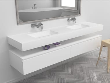 Double rectangular wall-mounted Corian® washbasin TEXAS | Double washbasin