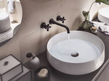 3 hole wall-mounted washbasin tap with individual rosettes LIRA | Wall-mounted washbasin tap