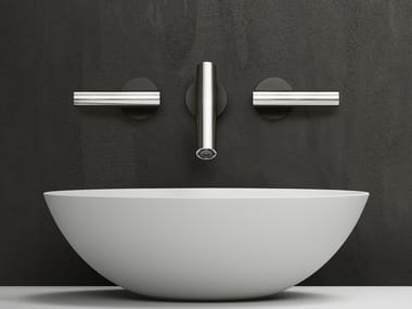3 hole wall-mounted stainless steel washbasin tap CILINDRO | Wall-mounted washbasin tap