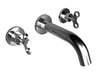3 hole wall-mounted brass washbasin tap ACQUACARICA | Wall-mounted washbasin tap
