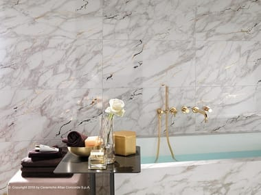 White-paste wall tiles with marble effect Wall tiles