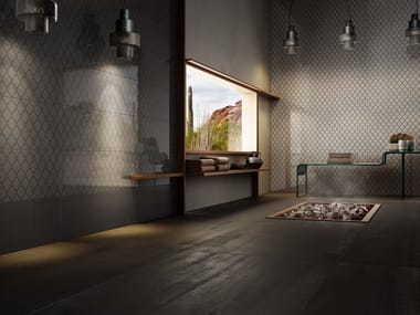 Porcelain stoneware wall tiles with metal effect FENCE