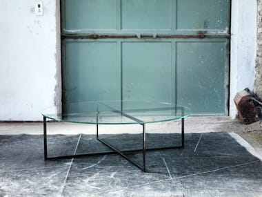 Oval glass coffee table for living room WARHOL | Oval coffee table