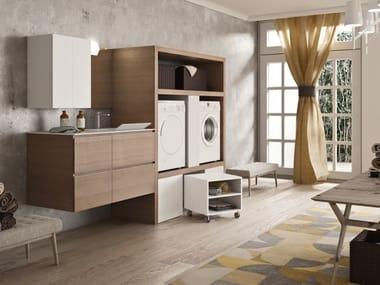 Waschküchenmöbel aus Melamin mit Schubladen für Waschmaschine WASH - COMPOSITION 6
