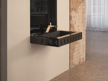 Rectangular wall-mounted steel washbasin BETTELOFT ORNAMENT MIDNIGHT | Washbasin
