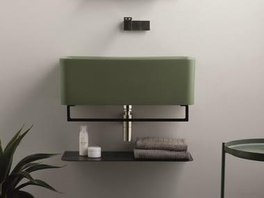 Rectangular wall-mounted ceramic washbasin with towel rail WYNN | Washbasin