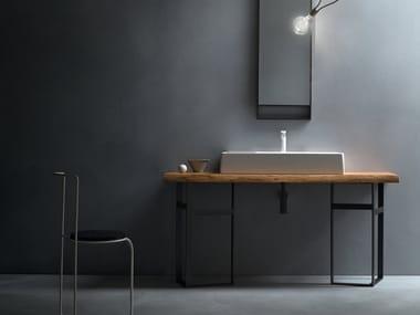 Piano lavabo singolo in legno massello EDEN | Piano lavabo in legno massello