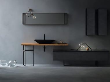 Piano lavabo singolo in legno massello EDEN | Piano lavabo