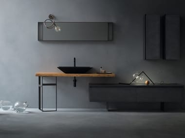 Single solid wood washbasin countertop EDEN | Washbasin countertop