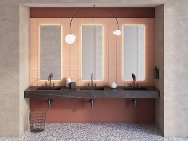 Wall-mounted natural stone washbasin with integrated countertop PURE   Washbasin