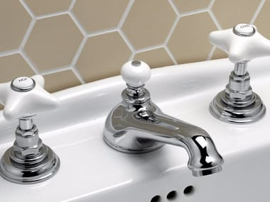 3 hole countertop washbasin tap with individual rosettes WHITE ROSE | Washbasin tap