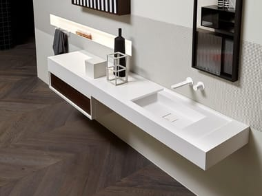 Rectangular Flumood® washbasin with integrated countertop BEMADE | Washbasin with integrated countertop