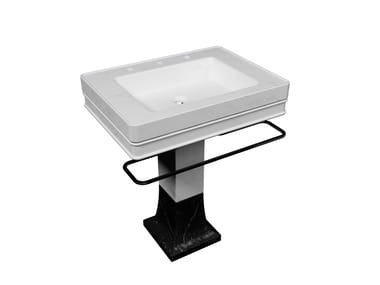 Freestanding natural stone washbasin with towel rail SAINT GERMAIN | Washbasin with towel rail