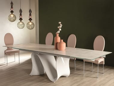 Extending ceramic table with Baydur® base WAVE | Extending table