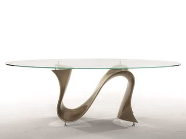 Oval glass table with Baydur® base WAVE | Oval table