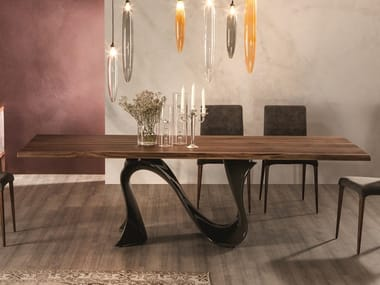 Rectangular solid wood table with Baydur® base WAVE | Solid wood table