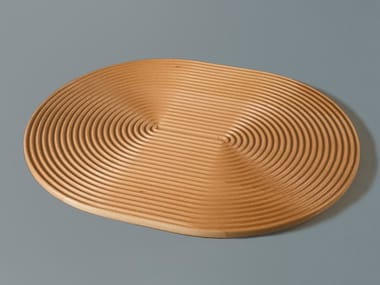 Oval solid wood tray WAVES LONG