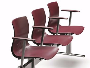 Freestanding plastic beam seating with armrests WEBBY 336 B3   Beam seating with armrests