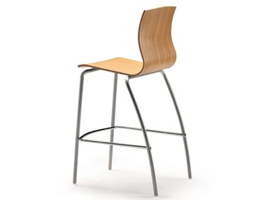 Multi-layer wood chair with footrest WEBWOOD 353H