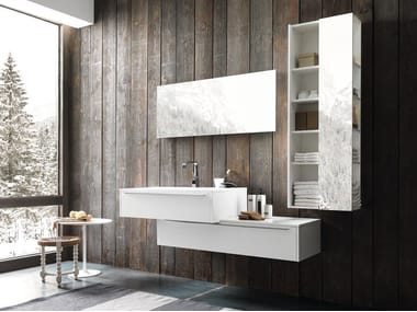 Lacquered wall-mounted vanity unit with drawers WELLNESS 02