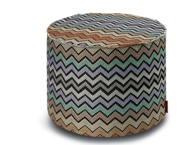 Pouf cilindro in tessuto jacquard con lurex WESTMEATH | Pouf
