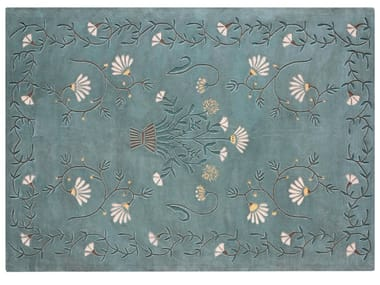 Patterned handmade rectangular wool rug WHITE DAISY
