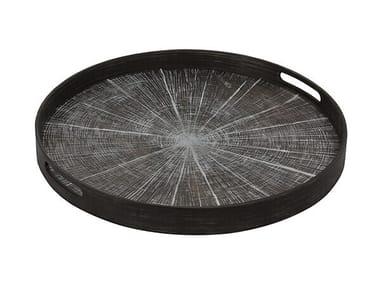 Round wooden tray WHITE SLICE