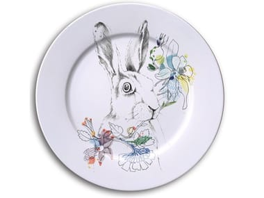 Porcelain dinner plate WHITE TALED JACK RABBIT